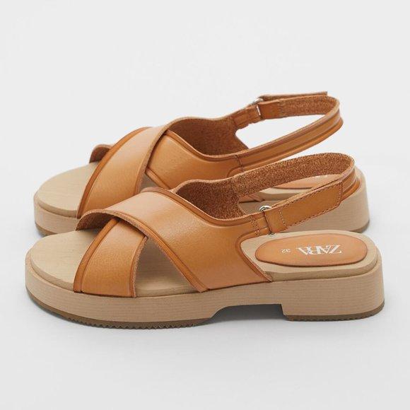 New Zara Crossed Strap Vegan Sandals
